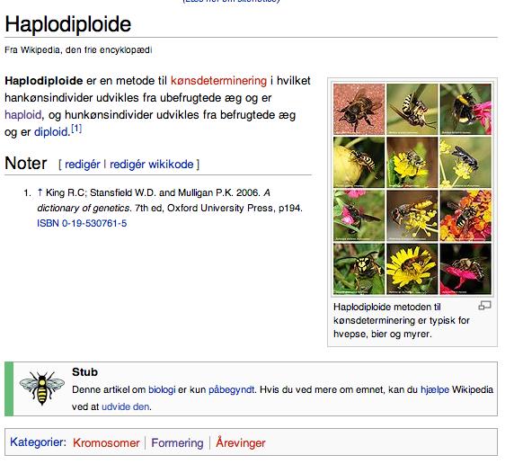 Haplodiploide - dansk Wikipedia - første version