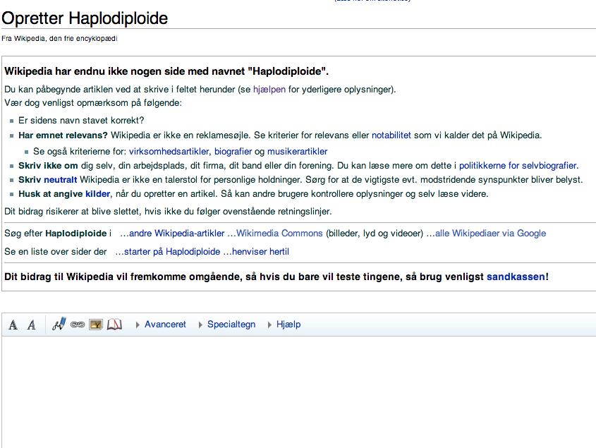 Opretter side på dansk Wikipedia - trin 2